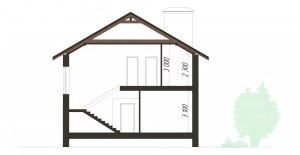 Проект дома 10 на 10 метров с гаражом. Разрез