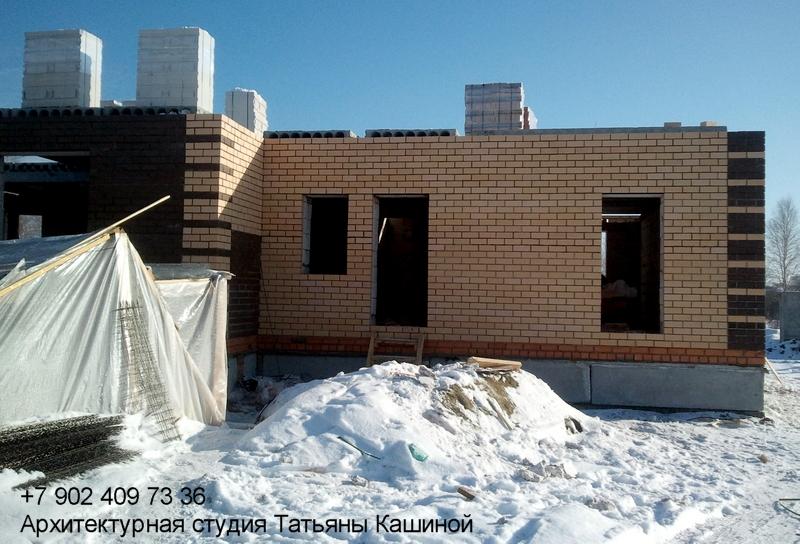 Проект. дома на два хозяина с неравными частями. Возведение стен первого этажа