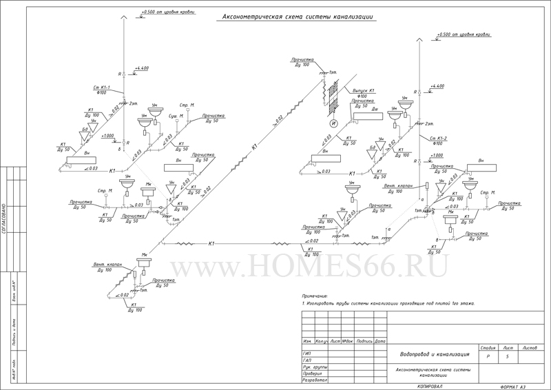 Аксонометрическая схема системы водоотведения