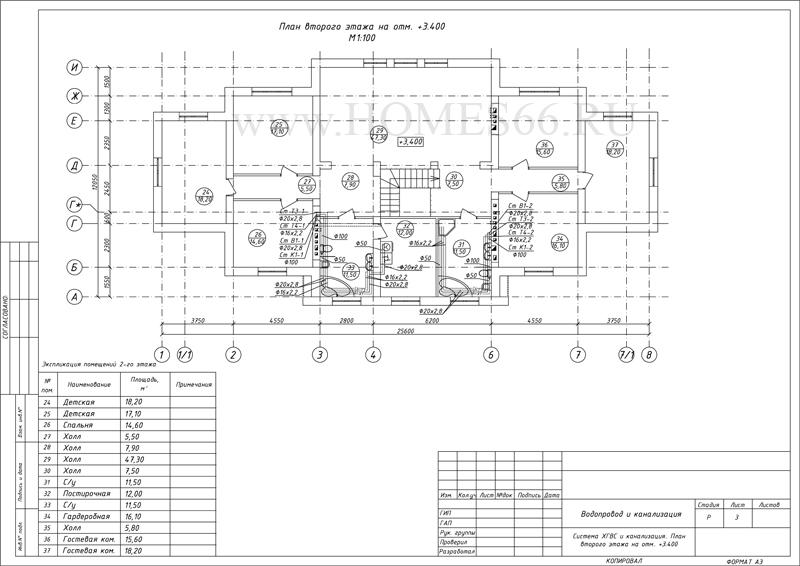 План разводки ВК второго этажа