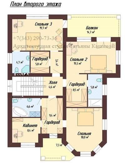 Индивидуальный проект дома с цокольным этажом. План второго этажа