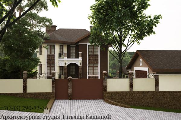 Индивидуальный проект дома с цокольным этажом. Вид 1
