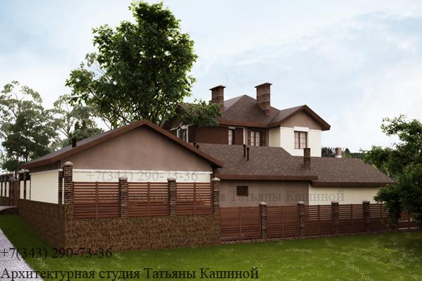 Индивидуальный проект дома с цокольным этажом. Вид 2