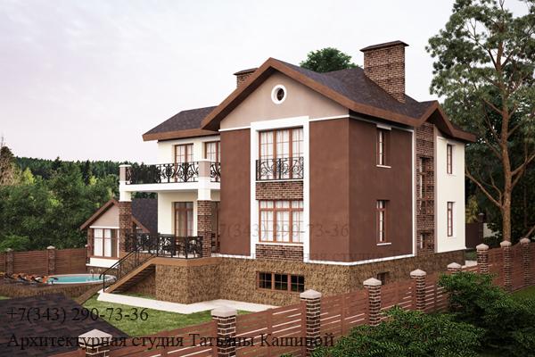 Индивидуальный проект дома с цокольным этажом. Вид 3