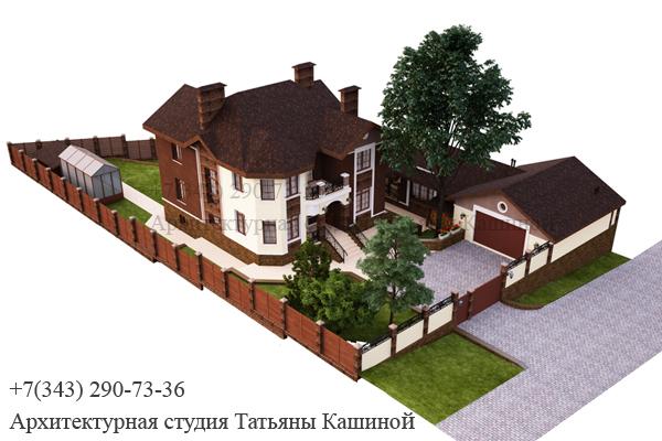 Индивидуальный проект дома с цокольным этажом. Вид 4