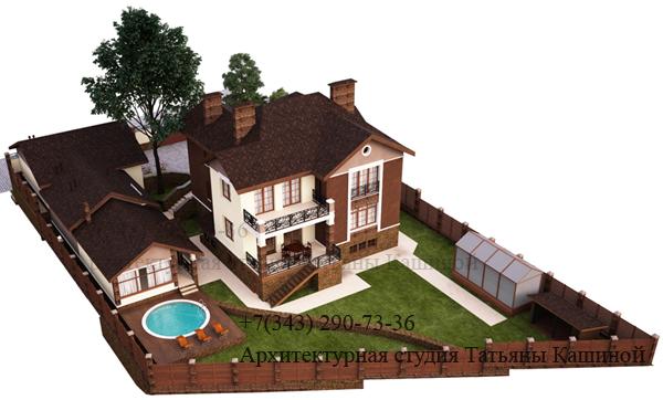 Индивидуальный проект дома с цокольным этажом. Вид 5