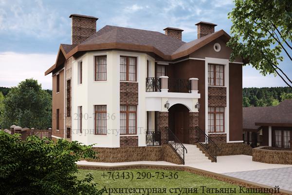 Индивидуальный проект дома с цокольным этажом. Вид 7