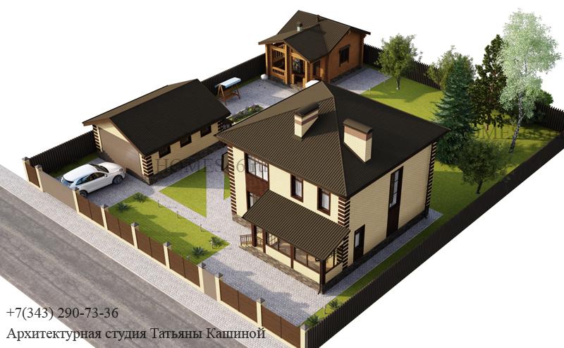 Проект дома из желтого кирпича с баней и гаражом на участке.