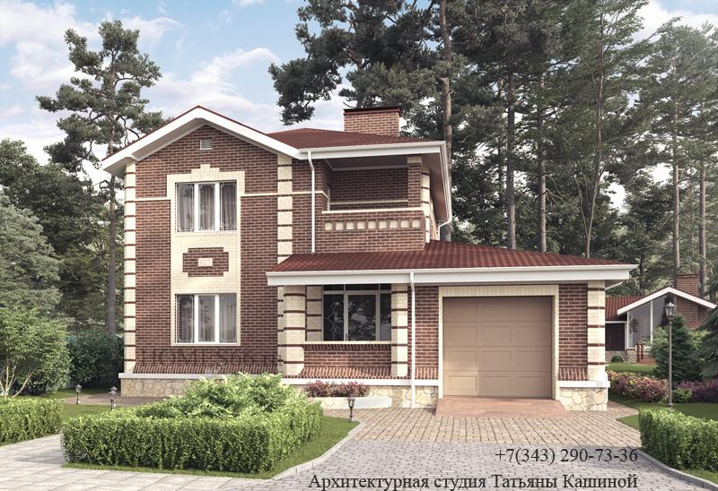 Проект двухэтажного дома с балконом в поселке Николин ключ