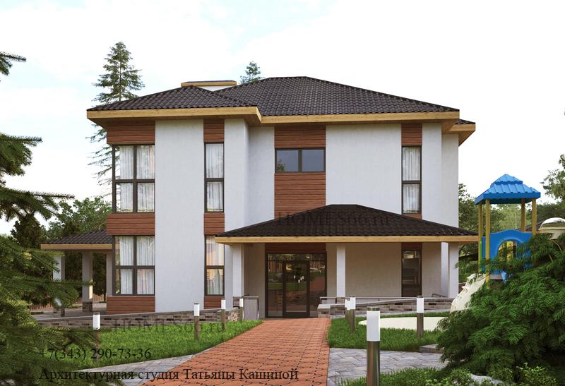 Проект современного дома на участке с рельефом. пос. Токарево