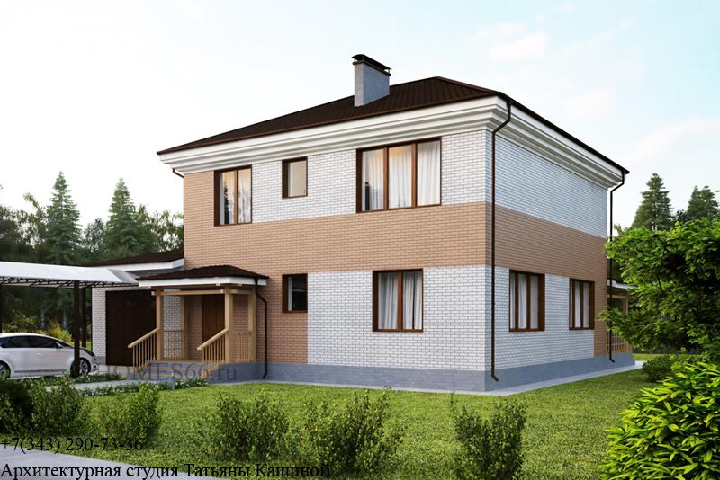 Проект дома с облицовочным кирпичом в современном стиле