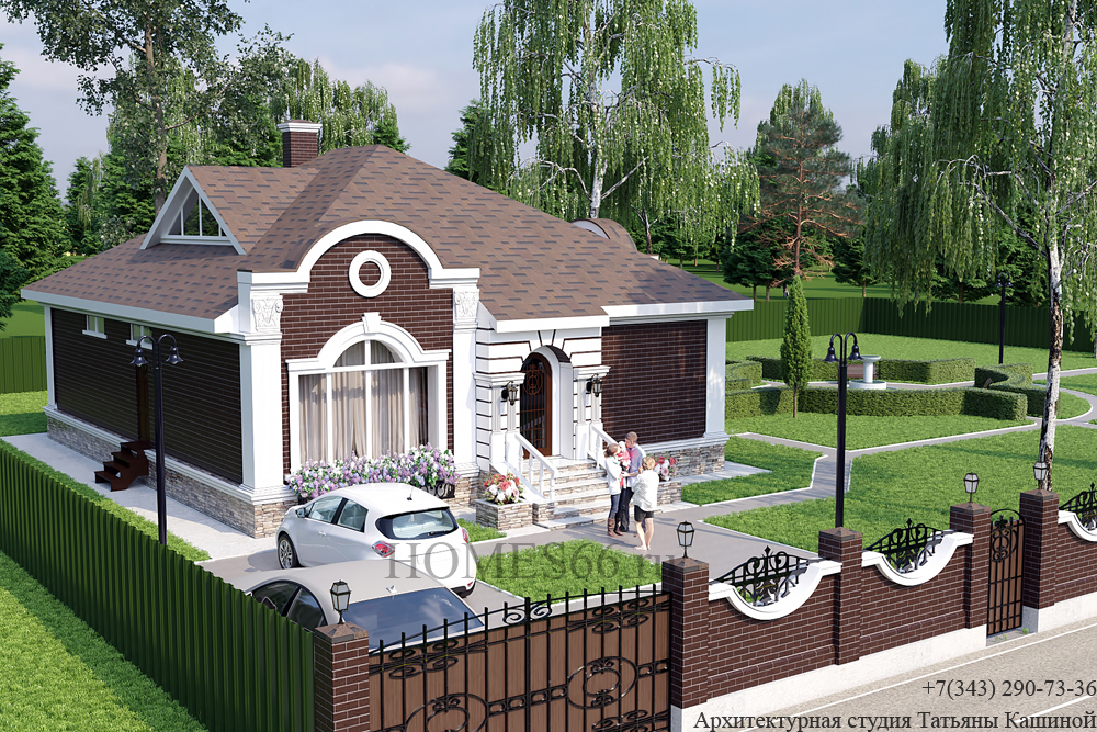 """Проект одноэтажного дома с отделкой кирпичом """"Алмаз"""" (пос. Заповедник)"""