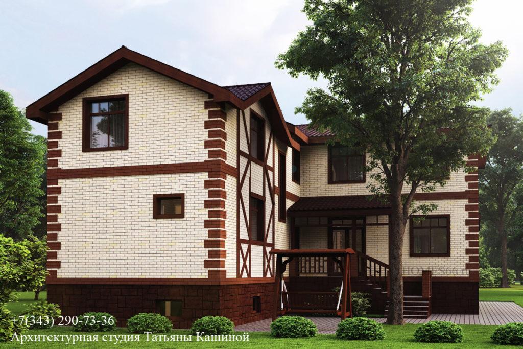 Проект дома на участке 6 соток с учетом существующего дерева. Екатеринбург