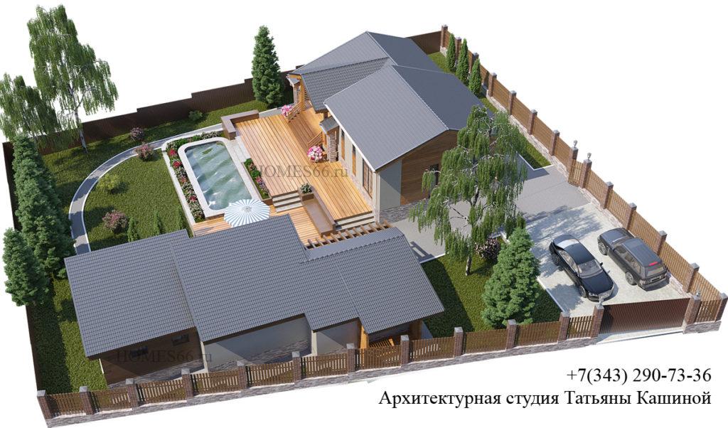 Архитектурный ландшафтный дизайн участка. Дом и баня на участке с рельефом