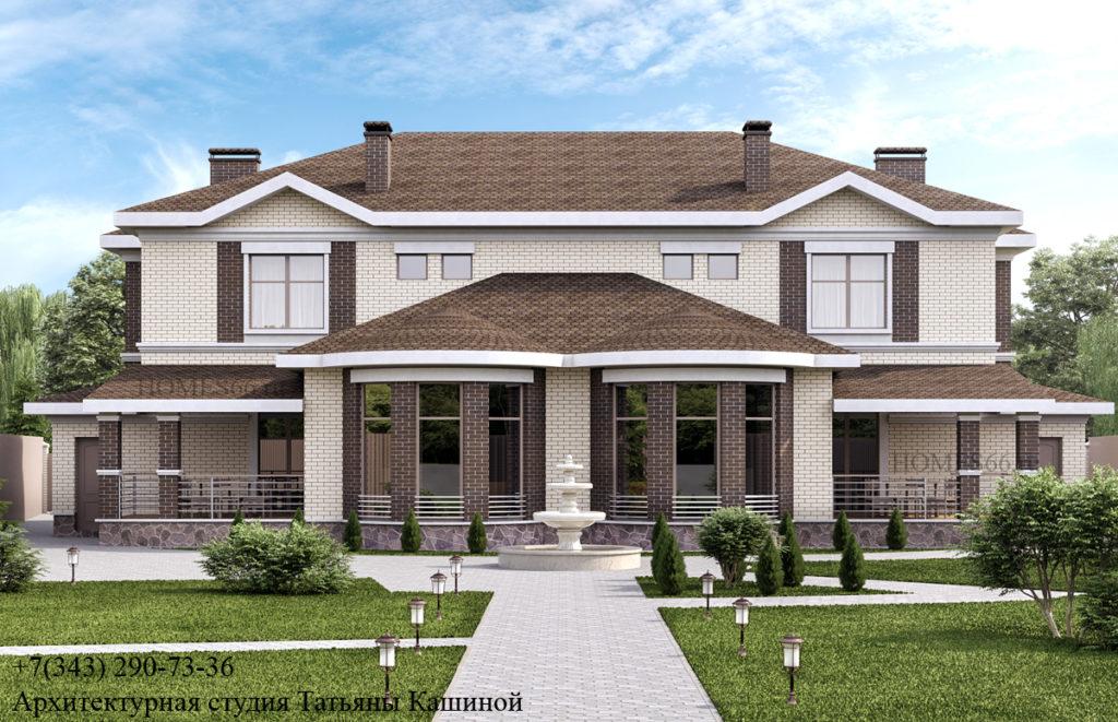 Проект дома на две семьи. Малиновка