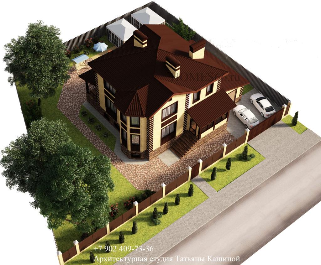 Проект дома с эркером в Верхней Пышме вид сверху