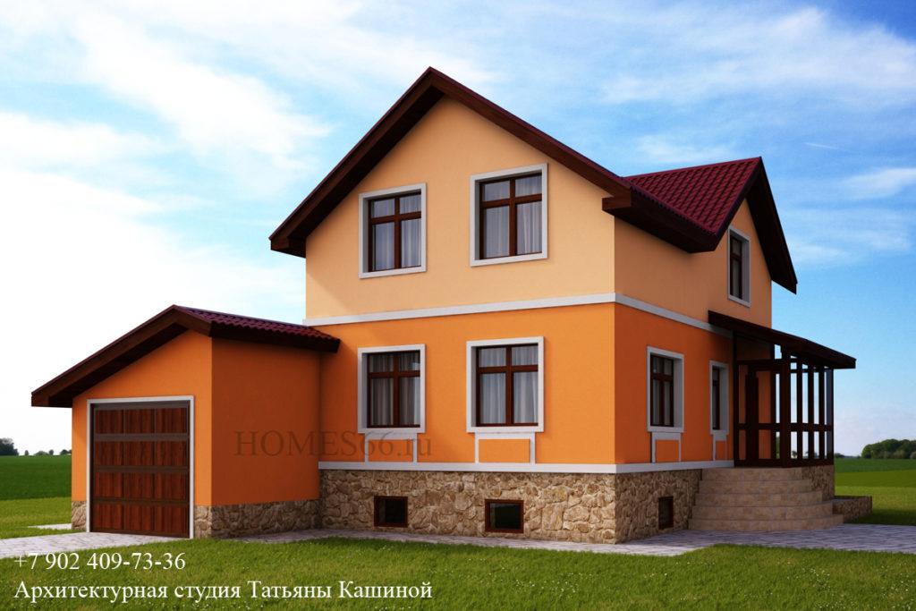 Проект небольшого дома с цокольным этажом и гаражом