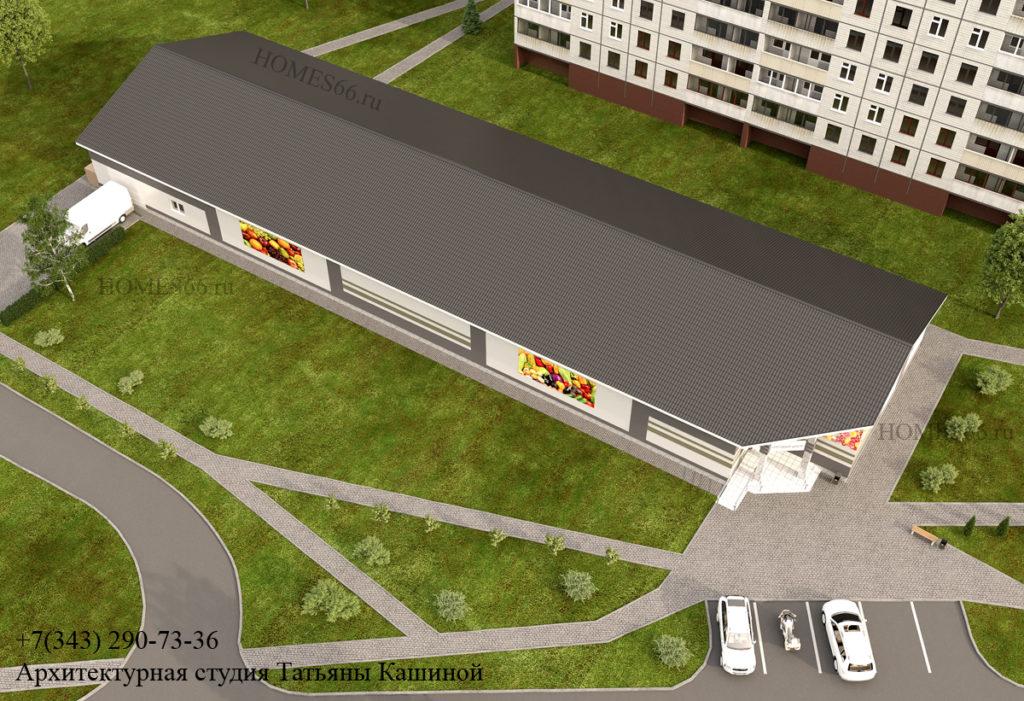 Эскизный проект магазина в Дегтярске. Вид сверху.