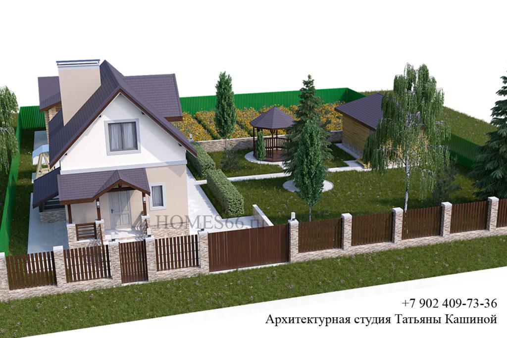 Проект дома 6 на 8 виды на участке