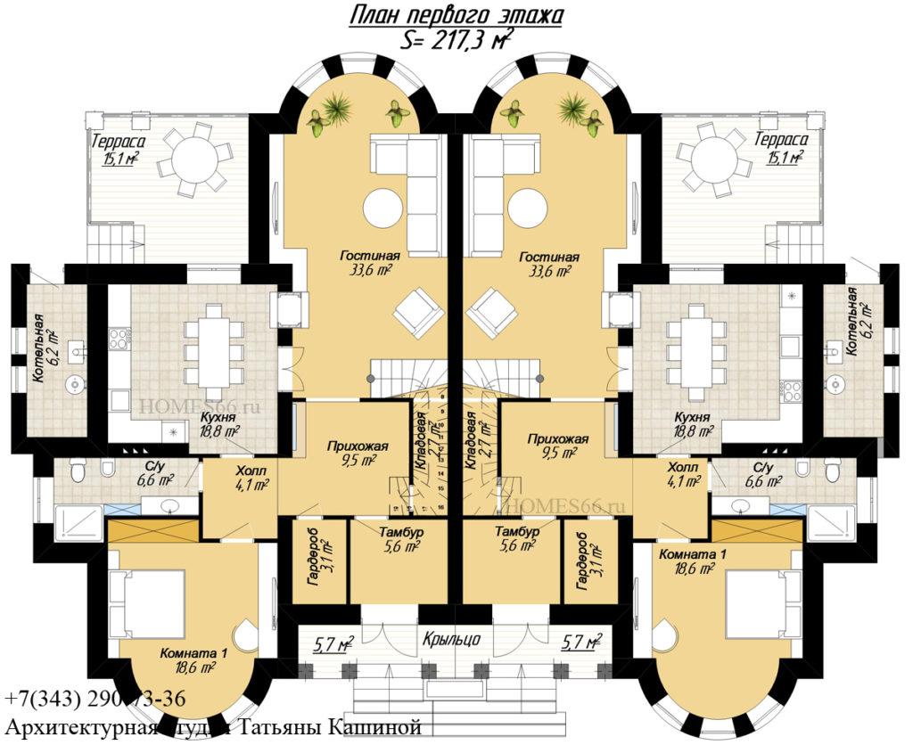 Малиновка. План первого этажа