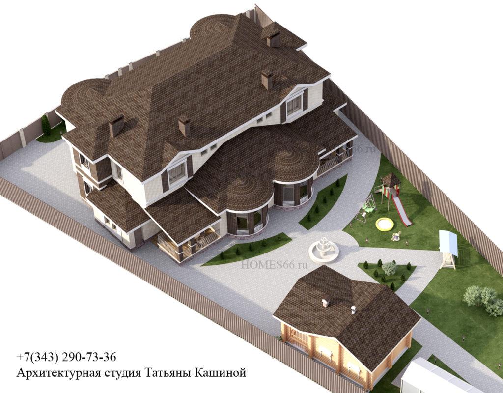Проект дома в Малиновке. Вид на участке