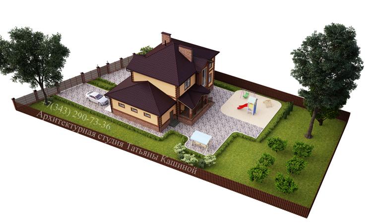Проект дома с гаражом и цокольным этажом. Вид на участке