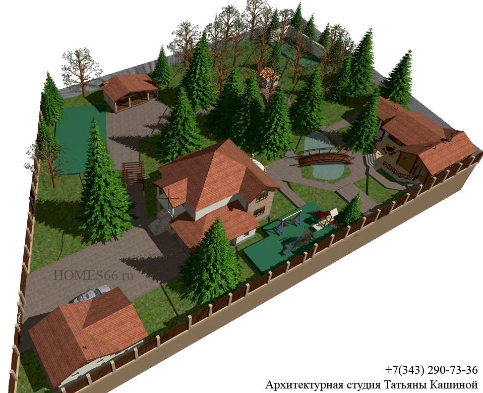 Архитектурный ландшафт участка на участке с существующими деревьями. пос. Лазоревый