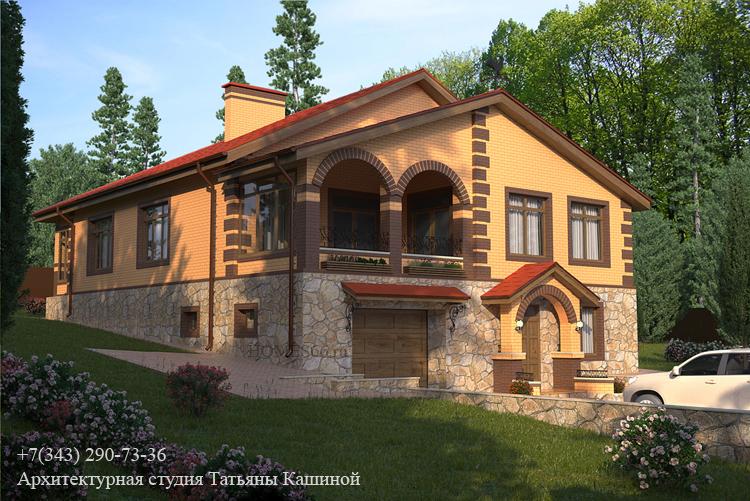 Проект дома с цокольным этажом на участке с выраженным рельефом