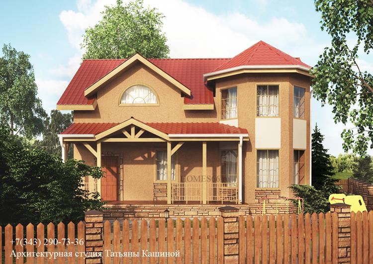 Проект дома с мансардным этажом и эркером в теплом цвете. пос. Растущий