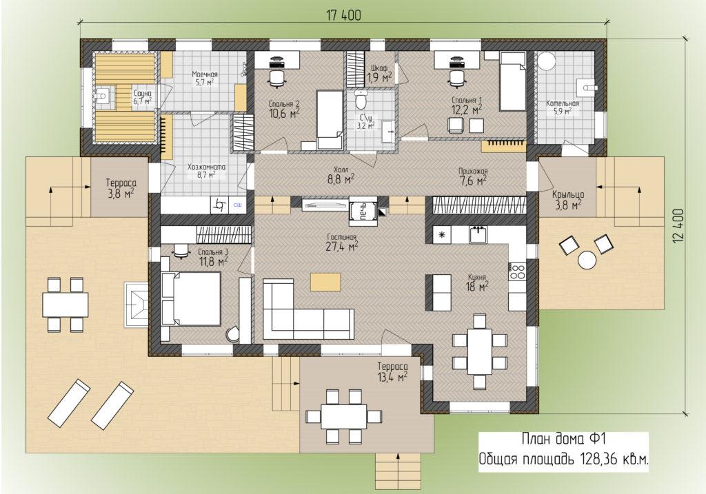 План одноэтажного дома F1