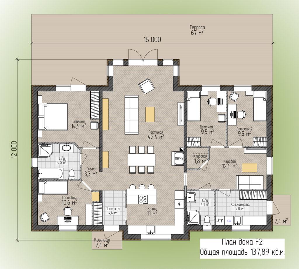 План дома F2